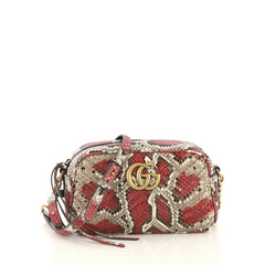Gucci GG Marmont Shoulder Bag Matelasse Python Small Pink 435511