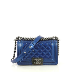 Chanel Boy Flap Bag Quilted Patent Small Blue 435671