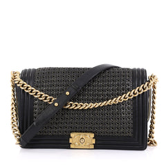 Chanel Boy Flap Bag Braided Sheepskin New Medium Black 435683