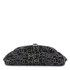 Chanel Paris-Shanghai Frame Clutch Crystal Embellished Boucle Tweed  Black 4357218