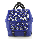 Christian Dior Stardust Backpack Cannage Quilt Lambskin with Embellished Mesh Medium Blue 435767