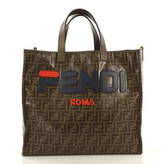 Fendi Mania Logo Shopper Tote Zucca Coated Canvas Large Brown 435821
