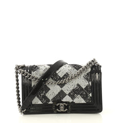 Chanel Boy Flap Bag Sequin with Patent Small White 435861