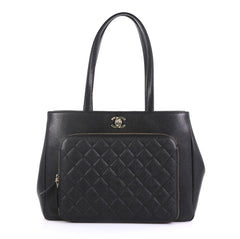 Chanel Business Affinity Tote Quilted Caviar Large Black 435901