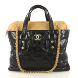Chanel Portobello Zip Tote Quilted Glazed Calfskin Medium Black 435931