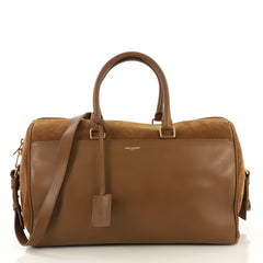 Saint Laurent Classic Duffle Bag Leather with Suede 12 Brown 435972