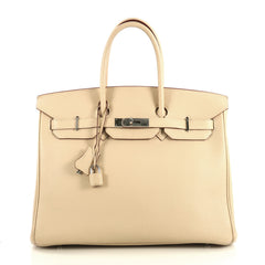 Hermes Birkin Handbag Light Togo with Palladium Hardware 35 Neutral 436101