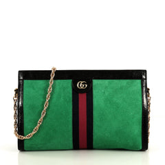 Gucci Ophidia Chain Shoulder Bag Suede Medium Black 4363201
