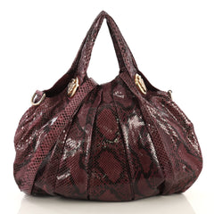 Gucci Hysteria Convertible Top Handle Bag Python Medium Purple 436422