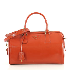 Prada Convertible Satchel Vernice Saffiano Leather Medium Orange 436491
