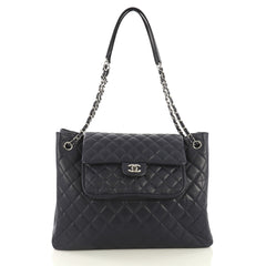 Chanel Classic Flap Shopping Tote Quilted Caviar Large Blue 436571