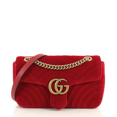 Gucci GG Marmont Flap Bag Matelasse Velvet Small Red 43664101