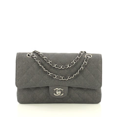 Chanel Vintage Classic Double Flap Bag Quilted Canvas Medium Gray 43664107
