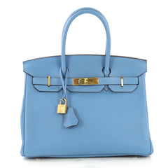 Hermes Birkin Handbag Blue Clemence with Gold Hardware 30 Blue 43664113