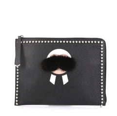 Fendi Karlito Pouch Studded Saffiano Leather Medium Black 4366423