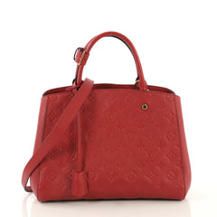 Louis Vuitton Montaigne Handbag Monogram Empreinte Leather MM Red 4366425