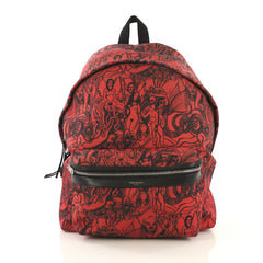Saint Laurent City Backpack Printed Canvas Red 4366429
