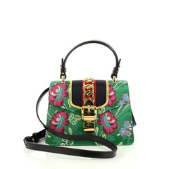 Gucci Sylvie Top Handle Bag Brocade Mini Green 4366431