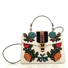Gucci Sylvie Top Handle Bag Embroidered Leather Medium White 4366432