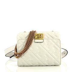Fendi Upside Down Bag Zucca Embossed Leather White 4366440