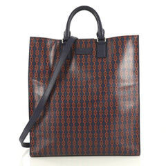 Gucci Convertible Soft Open Tote Printed Leather Tall Blue 4366451