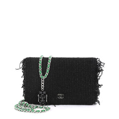 Chanel Wallet on Chain Fringe Tweed Black 4366452
