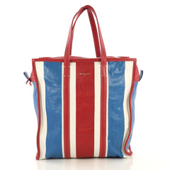 Balenciaga Bazar Tote Striped Leather Medium White 4366456