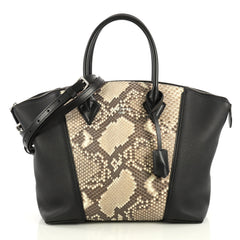 Louis Vuitton Soft Lockit Handbag Leather and Python PM Black 4366466