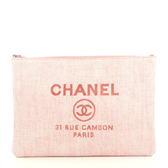 Chanel Deauville Pouch Raffia Large Pink 4366480