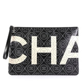 Chanel Camellia Logo Wristlet Clutch Printed Coated Canvas Large White 4366481