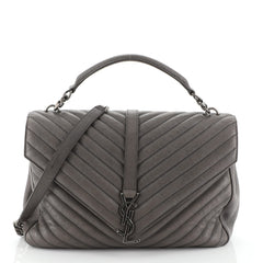 Saint Laurent Classic Monogram College Bag Matelasse Chevron Leather Large