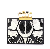 Alexander McQueen Flat Knuckle Clutch Sequin Embellished Leather Small White 436661