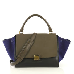 Celine Tricolor Trapeze Handbag Leather Medium Black 4367701