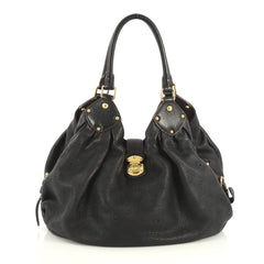 Louis Vuitton L Hobo Mahina Leather Black 436841