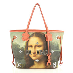 Louis Vuitton Neverfull NM Tote Limited Edition Jeff Koons Da Vinci Print Canvas MM