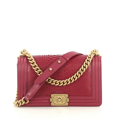Chanel Boy Flap Bag Python Old Medium Purple 436891
