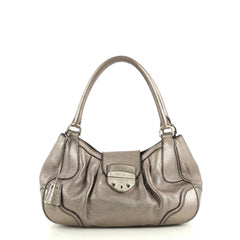 Prada Pushlock Tote Vitello Daino Medium Metallic 436921