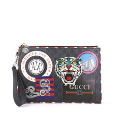 Gucci Night Courrier Pouch GG Coated Canvas with Applique Blue 436933