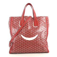 Goyard Voltaire Convertible Tote Painted Coated Canvas Red 436935