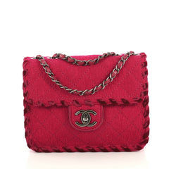 Chanel Fancy Flap Bag Quilted Felt Mini Pink 437101