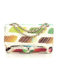Chanel Colorama Flap Bag Quilted Watercolor Canvas Jumbo White 437226