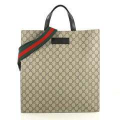 Gucci Convertible Soft Open Tote GG Coated Canvas Tall Brown 43727100