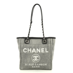 cc9a28a7d Chanel North South Deauville Tote Canvas Small Gray 43727104