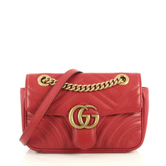 Gucci GG Marmont Flap Bag Matelasse Leather Mini Red 43727112