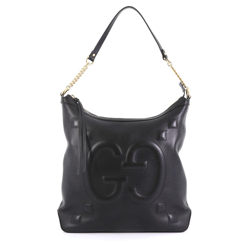 ed6f02a2d Gucci Apollo Shoulder Bag GucciGhost Embossed Leather Large Black 43727119  – Rebag