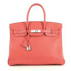 Hermes Birkin Handbag Red Clemence with Palladium Hardware 35 Red 4372711