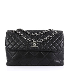 Chanel In The Business Flap Bag Quilted Lambskin Maxi Black 43727120