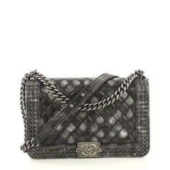 Chanel Paris-Dallas Boy Flap Bag Quilted Studded Distressed Calfskin New Medium Black 43727121