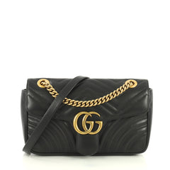 Gucci GG Marmont Flap Bag Matelasse Leather Small Black 43727127