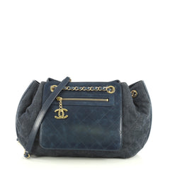 Chanel Drawstring Shoulder Bag Quilted Denim and Aged Calfskin Medium Blue 43727131